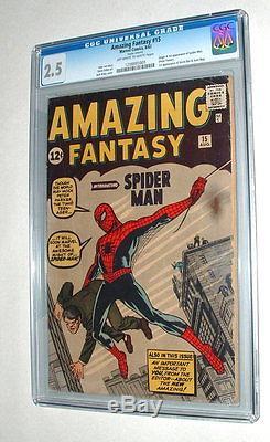 1962 Amazing Fantasy Issue #15 Comic Book Graded Cgc 2.5 Condition