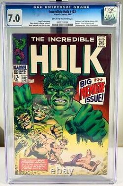 1968 Marvel The Incredible Hulk #102 Comic Book CGC 7.0 OWithW Pages