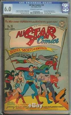ALL STAR COMICS #36 CGC 6.0 OWithWH PAGES