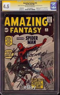 AMAZING FANTASY #15 1ST SPIDER-MAN CGC 4.5 SS Signed Stan Lee withFamous Quote