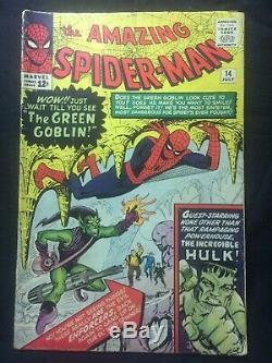 AMAZING SPIDER-MAN #14 1964 comic book original owner CGC graded 3.5 VG