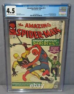 AMAZING SPIDER-MAN #16 (Daredevil 1st crossover) CGC 4.5 VG+ Marvel Comics 1964