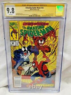 AMAZING SPIDER-MAN #362 CGC 9.8 SS 2x Signed By STAN LEE & M BAGLEY NEWSSTAND