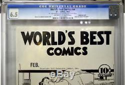 ASHCAN COPY WORLD'S BEST COMICS #nn CGC 6.5 SUPERMAN 1940 DC Rare ONLY 2 EXIST