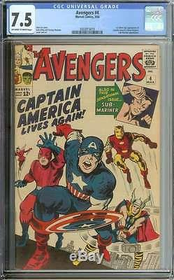 AVENGERS #4 CGC 7.5 OWithWH PAGES