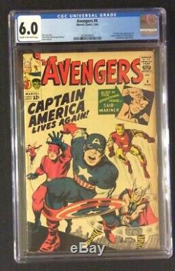 AVENGERS #4 Comic Book CGC 6.0 1ST APPEARANCE CAPTAIN AMERICA Steve Rogers 1964
