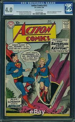 Action Comics #252 CGC 4.0 DC 1959 1st Supergirl! Superman! JLA! G3 254 cm