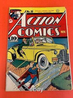 Action Comics # 30 (1940 Dc) Superman Vintage Golden Age Comic Book