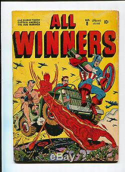 All-Winners #8 Classic Schomburg WWII Cover Captain America Timely Golden Age