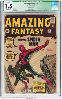 Amazing Fantasy 15 CGC 1.5 Q Marvel 1962 1st app Spider-man Homecoming SA Grail