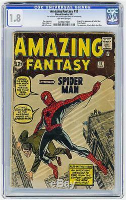 Amazing Fantasy #15 CGC 1.8 OW MEGA KEY Origin & 1st app Spider-Man Ditko Marvel
