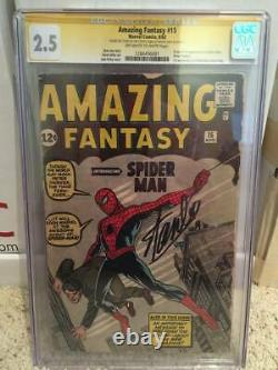 Amazing Fantasy #15 Cgc 2.5 Signed Stan Lee Af15 1st Appearance Spider-man