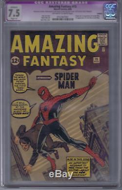 Amazing Fantasy #15 Marvel 1962 CGC 7.5 (VERY FINE -) SLIGHT (A) RESTORATION