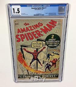 Amazing Spider-Man #1 CGC 1.5 KEY (Nicest 1.5 on eBay!) No Reserve! 1963 Marvel
