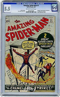 Amazing Spider-Man #1 CGC 5.5 OWithW KEY 1st Jameson FF X-Over Origin Marvel