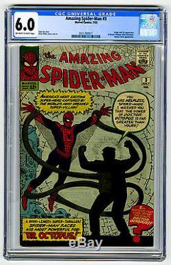 Amazing Spider-Man #3 CGC 6.0 Marvel Comic KEY 1st Doctor Octopus Silver Age 12c