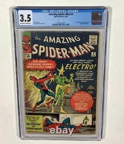 Amazing Spider-Man #9 CGC 3.5 KEY Book L@@K! (1st Electro & Origin) 1964 Marvel