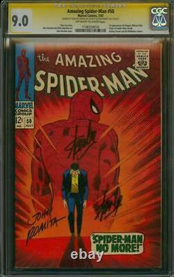 Amazing Spider-man 50 Cgc 9.0 3x Ss John Romita Sr And Signed Twice By Stan Lee