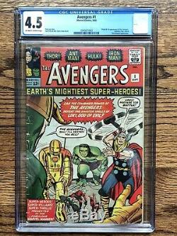 Avengers #1 1963 CGC 4.5 HOT MEGA KEY Comic Book OWithW pages
