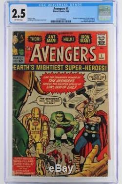 Avengers #1 CGC 2.5 GD+ Marvel 1963 1st App & ORIGIN (Iron Man Hulk Thor)