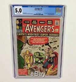 Avengers #1 CGC 5.0 KEY (1st Avengers & Origin) Sep. 1963 Marvel
