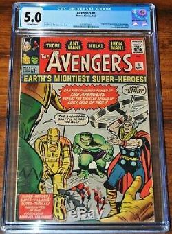 Avengers #1 CGC 5.0 (OFF-WHITE PAGES) 1st App & Origin Avengers (ENDGAME MOVIE)