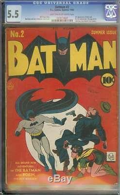 BATMAN #2 CGC 5.5 LT/OW PAGES