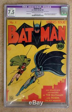 Batman #1 1940 Spring Issue Cgc Graded 7.5