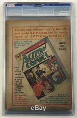 Cgc 0.5 Superman #1 Golden Age 1939 Original Certified DC Comic Book