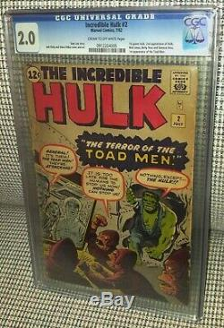 CGC 2.0 Incredible Hulk # 2 (1st Appearance of the Green Hulk). 2nd App of Hulk