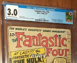 CGC 3.0 Fantastic Four # 12. First Meeting Fantastic Four & Incredible Hulk MCU