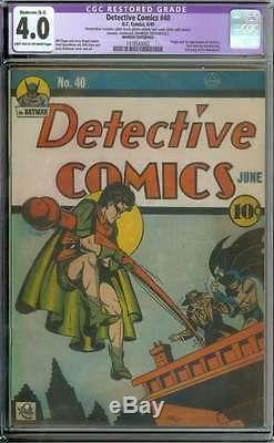 Detective Comics #40 Cgc 4.0 Lt/ow Pages