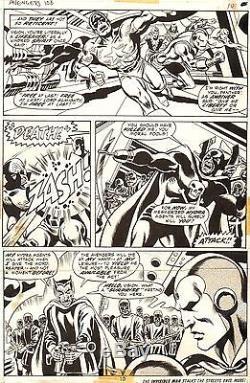 DON HECK & DAVE COCKRUM AVENGERS #108 Original Marvel Comic Bronze Art 1973