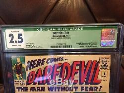 Daredevil #1 (Apr 1964, Marvel) CGC 2.5 (Q) FIRST APP OF DAREDEVIL KEY BOOK