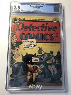 Detective Comics #105 CGC 2.5 Golden Age DC Comic Book! BATMAN! Batmobile! RARE