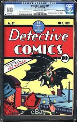 Detective Comics #27 First Appearance Of Batman Cgc Ng Unrestored Holy Grail