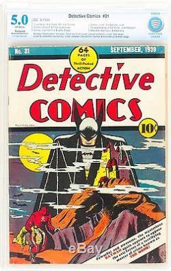 Detective Comics #31 (1939) CBCS 5.0 Classic Iconic Cover! 5th Batman SCARCE