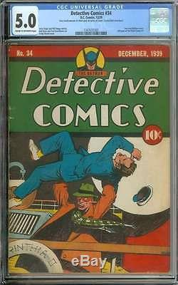 Detective Comics #34 Cgc 5.0 Cr/ow Pages