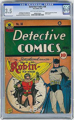 Detective Comics #38 CGC 3.5 KEY 1st app Robin Kane Siegel DC Golden Age Comic