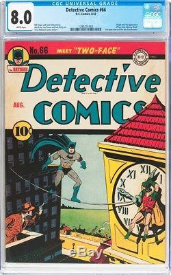 Detective Comics #66 Cgc 8.0 White Pages Origin &1st App Two-face #1293251002