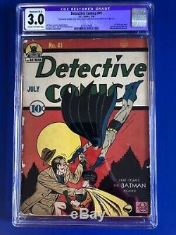Detective Comics No. 41 Early Golden Age Batman 1st Robin Solo Important Book