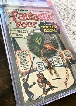 FANTASTIC FOUR #5 CGC 3.0 KEY GRAIL Silver Age Comic Book 1ST APP DOCTOR DOOM