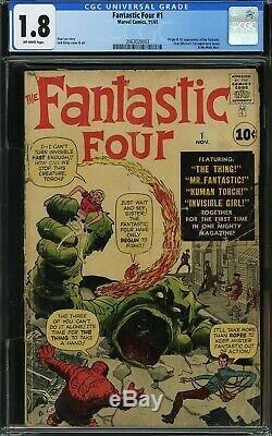 Fantastic Four #1 CGC 1.8 Mole Man 1st App 2063020003 O/White Pages 1961