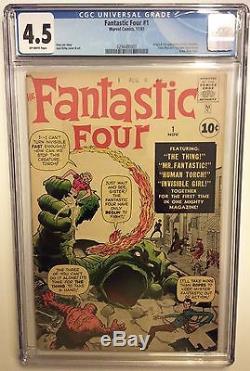 Fantastic Four # 1 cgc 4.5, Super Key 5,52,12, Hulk, Spider-man, Avengers, Stan