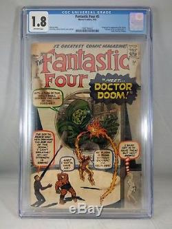 Fantastic Four #5 1962 CGC 1.8 1st app Dr Doom, Hulk 1 ad. Silver age Marvel KEY