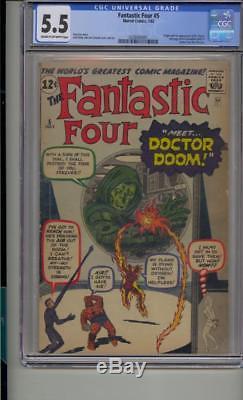 Fantastic Four #5 Cgc 5.5 Origin & 1st Doctor Doom