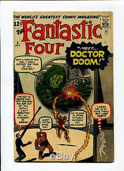 Fantastic Four #5 VG/FINE 5.0 KEY 1st Doctor Doom Kirby Marvel Silver Age Comic