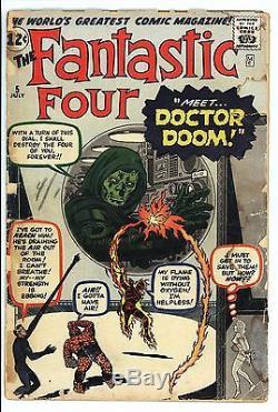 Fantastic Four #5 Vol 1 Nice Low Grade Unrestored 1st App of Doctor Doom
