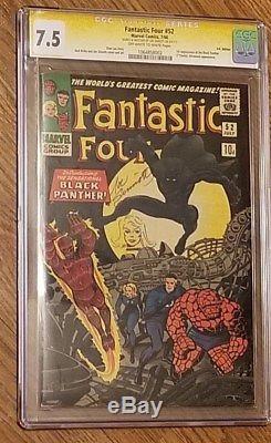 Fantastic Four #52 Cgc Ss Vf-(7.5) Key 1st Blk Panthr Signed/sketched Sinnott