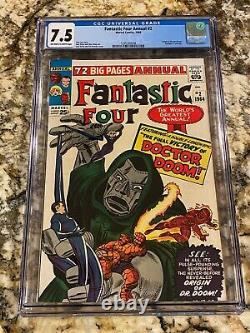 Fantastic Four Annual #2 Cgc 7.5 Ow- White Pages High End Origin Dr. Doom Hot